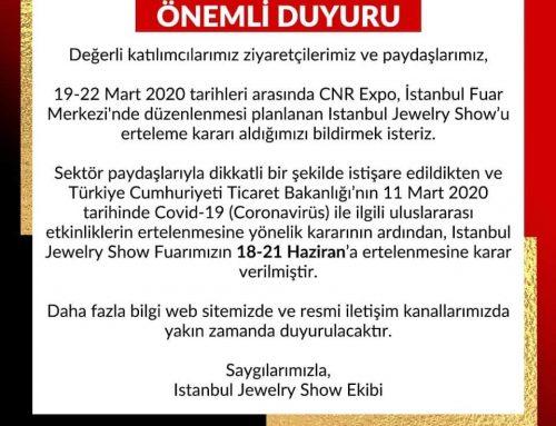 50.'si düzenlenecek olan İstanbul Jewelry Show Haziran ayına ertelendi.